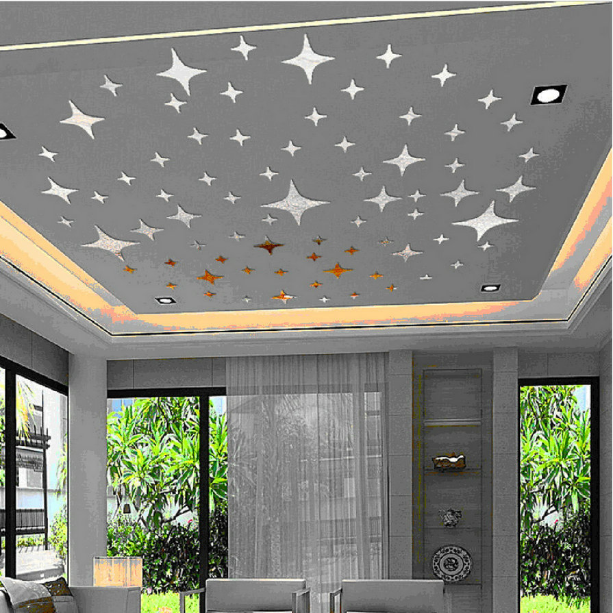 2017 new 43pcs twinkle stars ceiling decoration crystal reflective diy mirror effect 3d wall. Black Bedroom Furniture Sets. Home Design Ideas