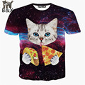 2016 new galaxy space 3D t shirt lovely kitten cat eat pizza funny tops tee short sleeve summer shirts for men