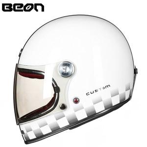 Image 2 - BEON full face glassfiber motocross helmet beon B510 vintage motorcycle professional retro Helmets ECE certification