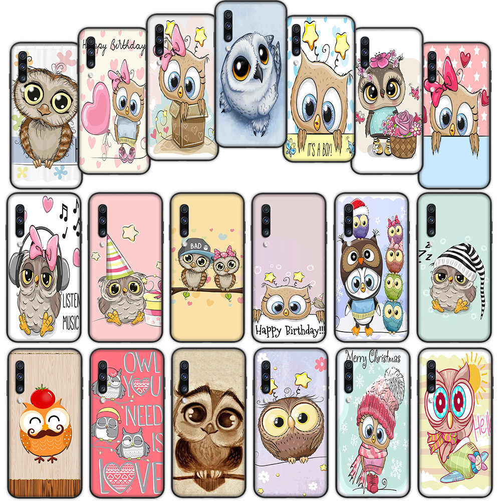 Cute Owl Cartoon Soft Cover Case for Samsung Galaxy A50 A6 Plus A7 A8 2018 A5 A9 A10 A30 A40 A70