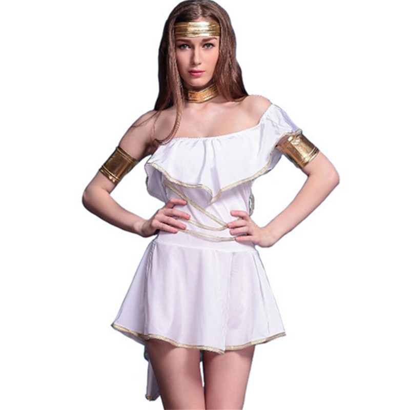 high quality white Greek Goddess Party Dress club DS show Roman Princess Cosplay clothing cleopatra Costumes Halloween for Women