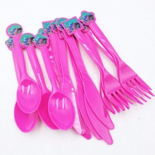 30pcs/set Trolls Disposable Plastic Knife/Fork/Spoon Kids Birthday Baby Shower happy birthday Decoration Party Supplies