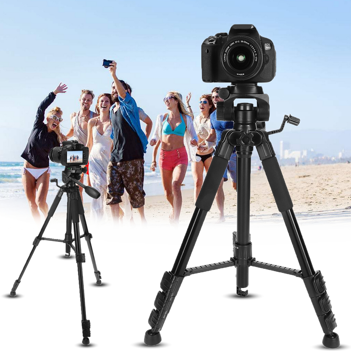 Adjustable Monopod Telescopic Tripod Stand Holder Fit For DSLR Camera Camcorders Black Three-dimensional Head Aluminum+ABS low price monitor head tripod camera telescope mini stand adjustable tripod free shipping