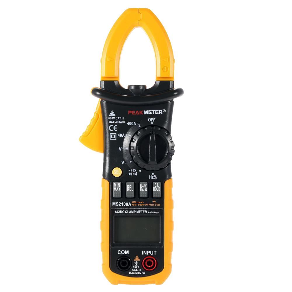 HHTL-PEAKMETER MS2108A Digital Clamp Meter AC/DC AMP Volt Resistance Capacitance Test LS 41IF meter ut61a transistor resistance digital capacitance measurement test three and a half
