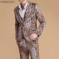 (Куртки + брюки) мужской костюм с леопардовым принтом Повседневный приталенный комплект из 2 предметов на одной пуговице свадебные костюмы п...