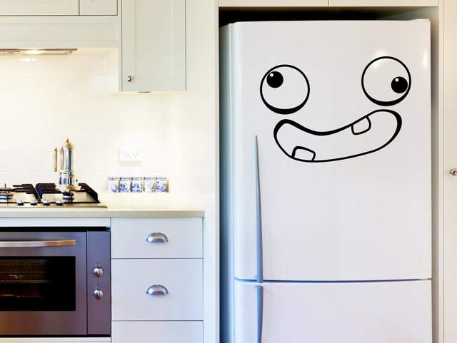 Funny Face Kitchen Fridge Door Decals Interior Crazy Face Home Decor