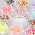 Candy Lover 12Pcs/Lot shiny Sparkly Sequin Hexagon Glitter Acrylic Manicure Nail Art Tips Design Decoration Nails DIY Tools