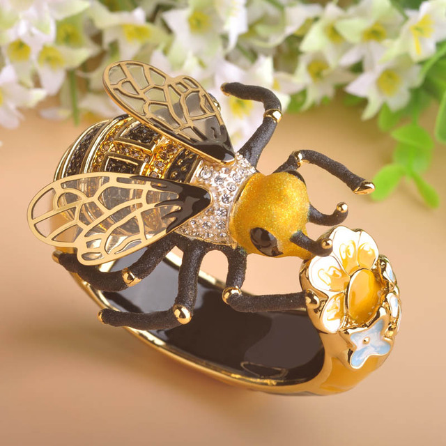 MECHOSEN Unique Enamel Esmalte Bees Bangles AAA Zircon Pulseira Masculina Copper Crystal Insect Bileklik Luxury Jewelry With Box