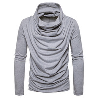 spring and summer mens trend of solid casual long sleeved piles collar shirt pullover fashion sweater men