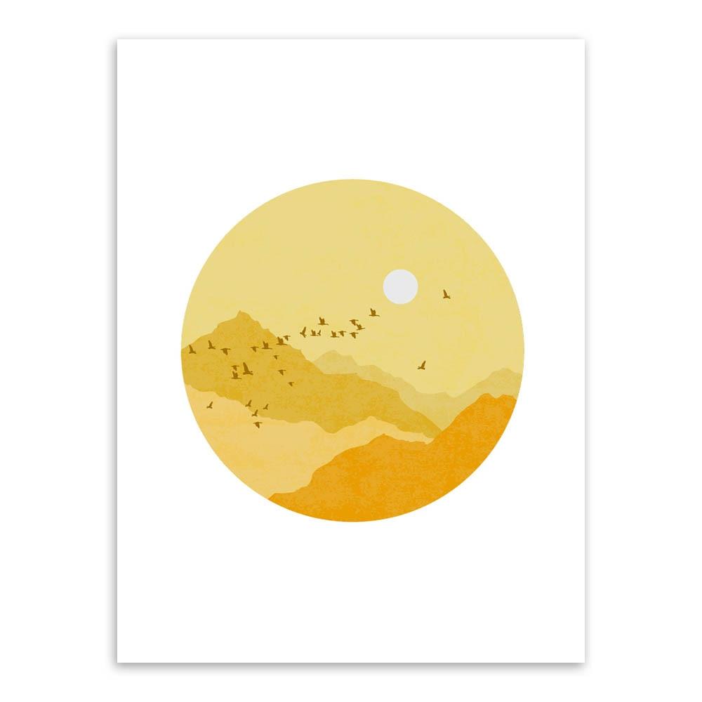 Modern Summer Mountain Birds Sun Moon Landscape Canvas Big A4 Art ...