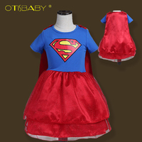 New Design Girl Hulk Superman Batman Dress For Girls Carnival Christmas Costumes For Kids Hero Cosplay