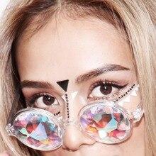 Round Kaleidoscope Glasses Women rave festival Sunglasses Ho