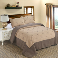 Coffee Quilt Embroidery Summer Thin Comforter King Queen Bed Cover Patchwork Bedspread Coverlet Set Pillow Shams 3Pcs D25