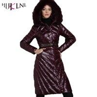 HIJKLNL 2017 Nowe Kobiety W Dół Kurtki Zimowe Luksusowe Płaszcze Z Kapturem kobiet Tęsknimy Dół Kurtki Istny Fox Fur Collar Dół Parki LZ543