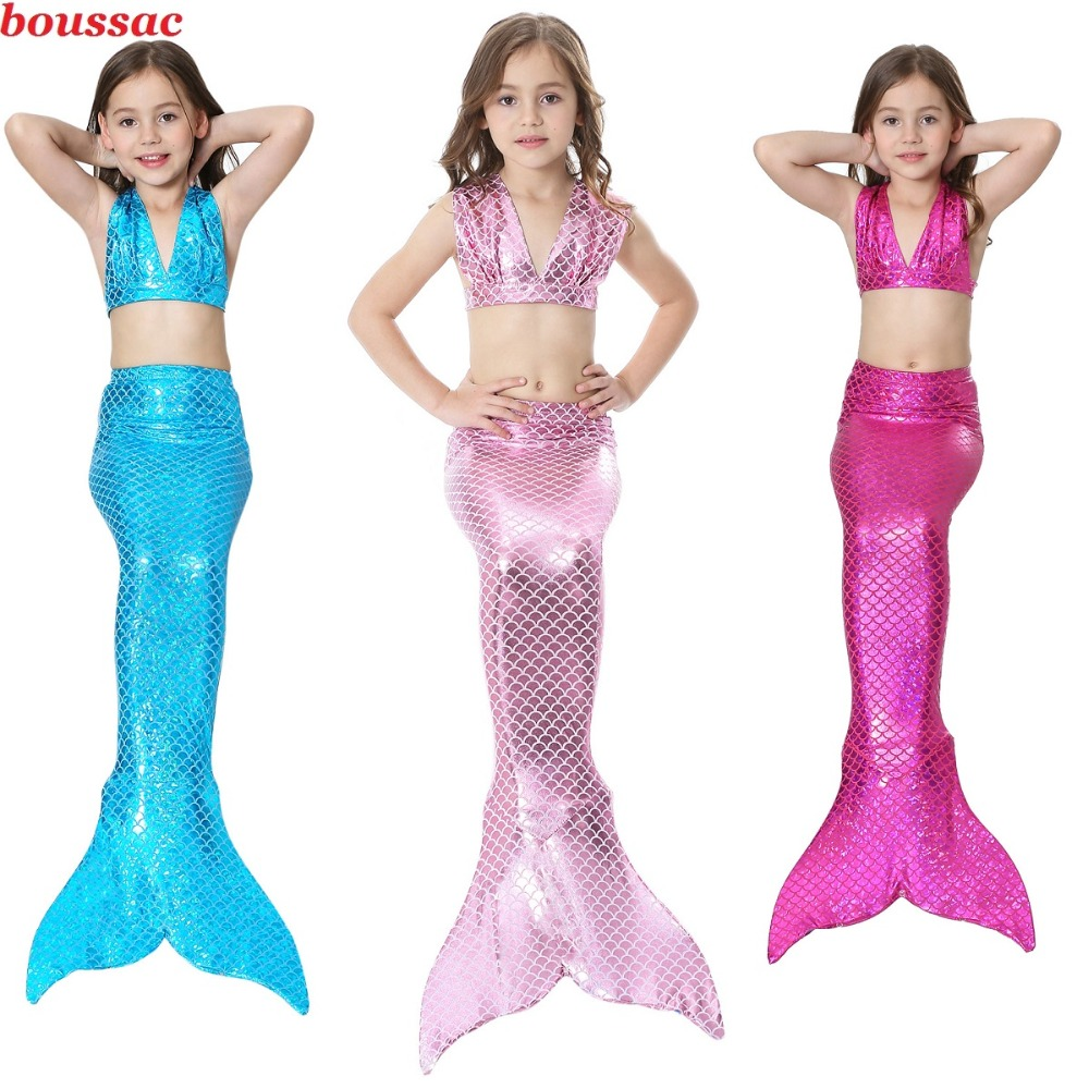 Children Hot Mermaid Tails With Monofin Fin Flipper Cosplay Costume Girl Kids Swimsuit Ariel Swimmable Mermaid Tail for Swimming
