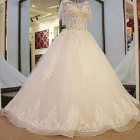Backlake Rhinestone Wedding Dress Luxury Ball Gown Lace up Back Short Sleeves Floor Length Tulle Wedding Gown for the Bride