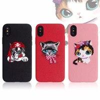 Sevimli Kedi ve Köpek Shell Kılıf iphone X Nakış Tarzı Desen Tasarım Telefon Kılıfı Arka Kapak Takip Numarası Ile