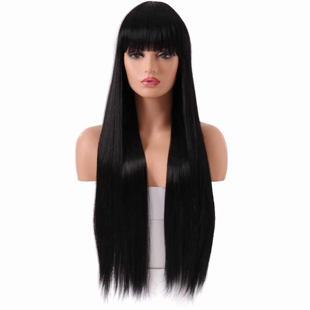 BESTUNG Long Black Wigs Synthetic Natural Straight Hair Wig with Bang for Women Costume Cosplay