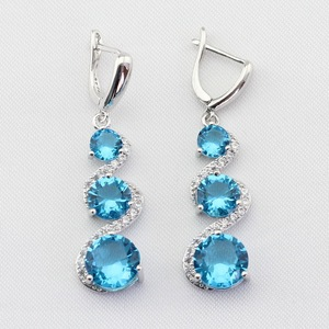 Christmas Gift Blue Stones White CZ Silver Color Jewelry Women Long Drop Earring Free Gift Box Made in China