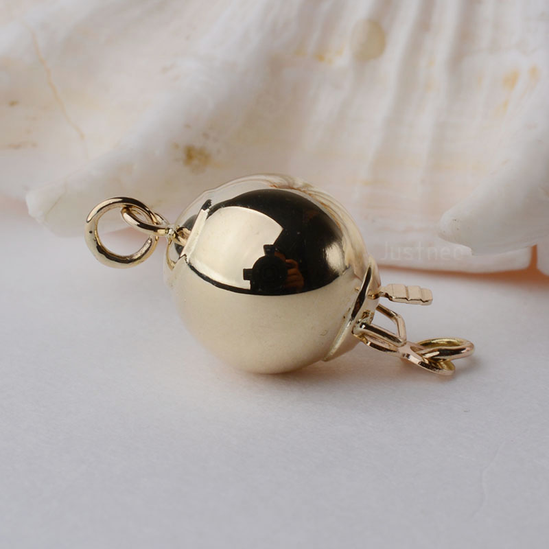 925 Solid Sterling Silver Polished Ball Clasp 10mm