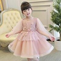 Summer New Korean Sweet Lace Girl Flowers Dress Baby Girl Princess Dress 3 13Age Children Birthday