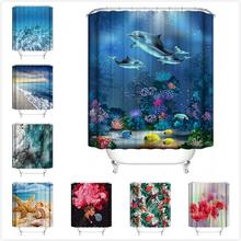 New Waterproof african Shower Curtain 180x180CM Ocean style printing Polyester fabric Bathroom curtains with 12 Hooks