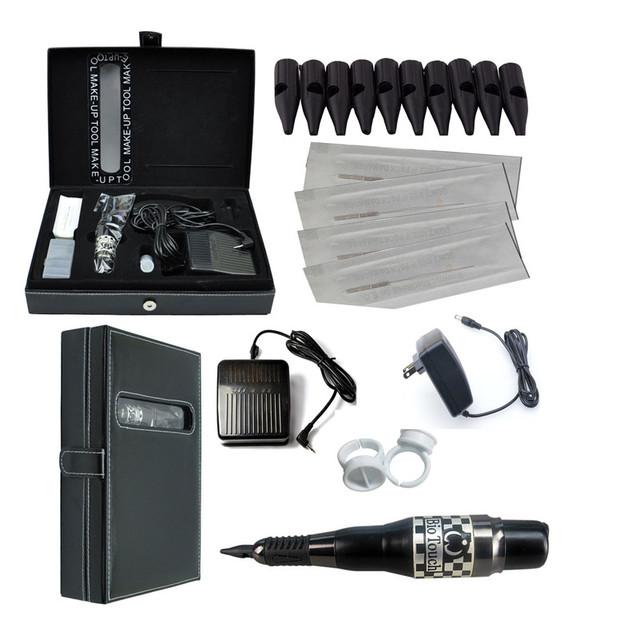 Maquillaje permanente Pen Kit 1 Unidades Tatuaje Pluma de la Ceja del Labio Máquina Conjunto De Arma Del Tatuaje Kits de Alimentación Aguja