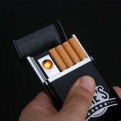 Caixa preta multifuncional do cigarro com caixa eletrônica recarregável do cigarro do isqueiro