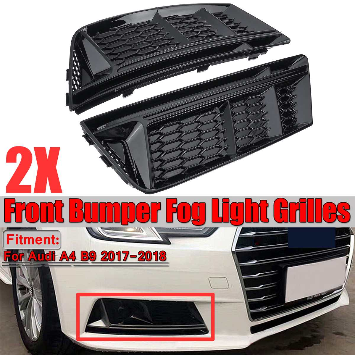 Pair Front Bumper Grille Guide Left /&Right For Audi A4 Allroad Quattro 10-16