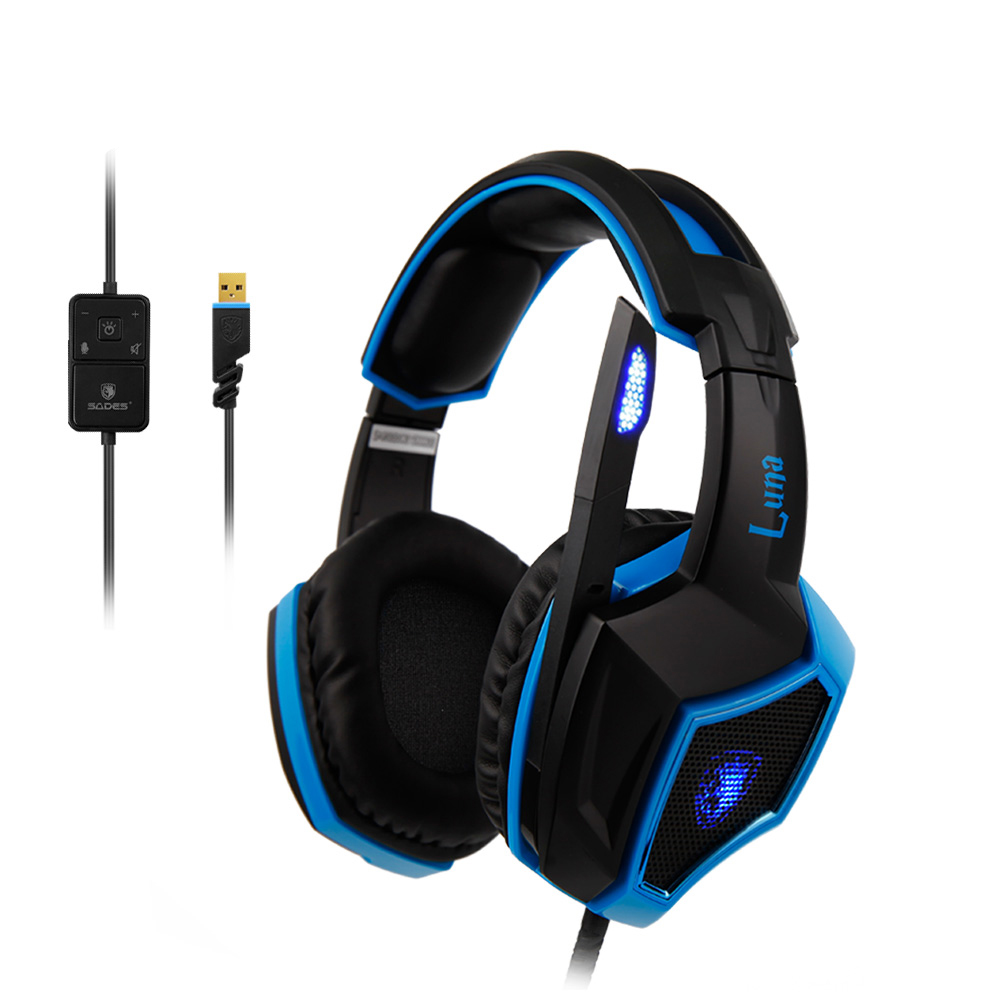 SADES LUNA Virtual 7.1 Surround Sound headphones Cool LED Headphone Multifunctional In-line Remote Headset for Gamer sades locust plus virtual 7 1 surround sound headphones high quality headset headphone for gamer with rgb light
