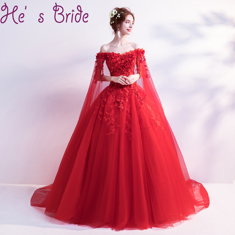 Evening Dress Elegant Red Boat Neck Long Sleeves Sweep Train Tulle Ball Gown Lace Sequins Flowers Illusion Party Prom Dress