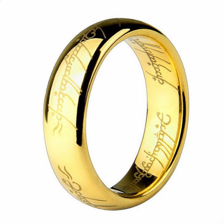 Fashion European Never Fading Classic Engagement Wedding Rings 7mm Golden Plated Titanium Steel Rings for Men and Women