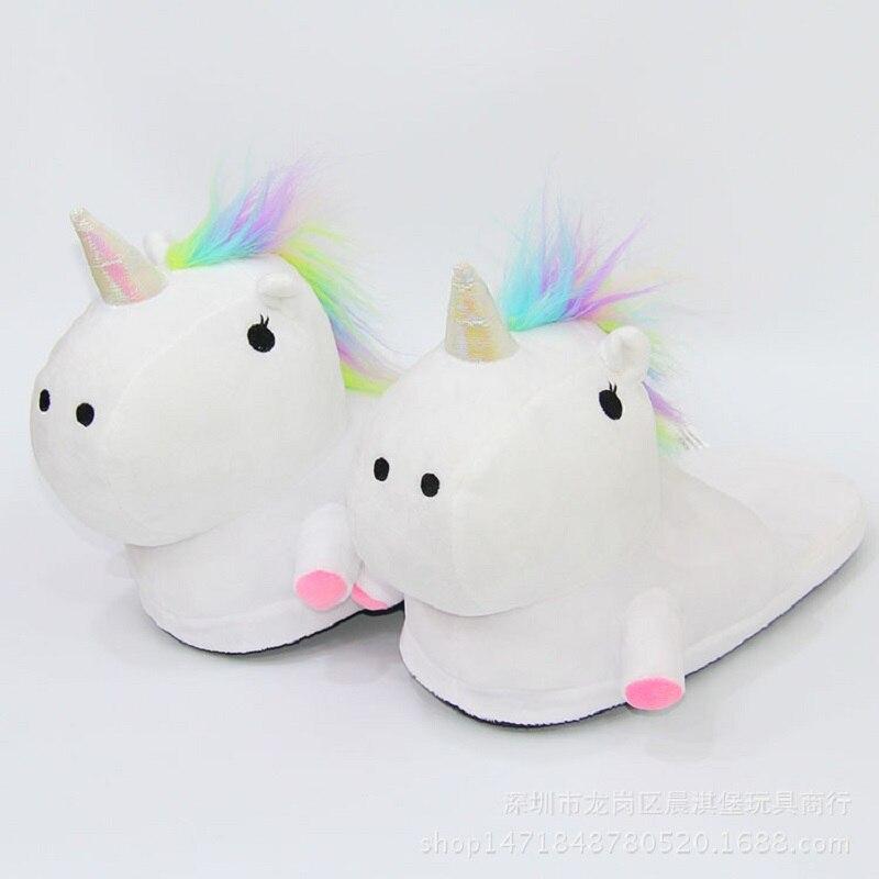 Unicorn Slippers Kids Winter Warm Plush
