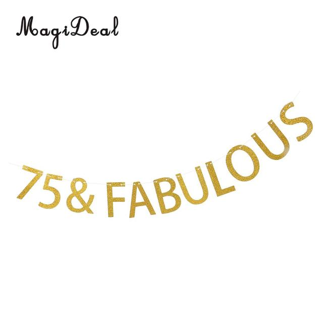 Glitter Gold 75 Fabulous Paper Bunting Banner 55th Birthday Party Home Garden Outdoor Lawn Hanging Decorations