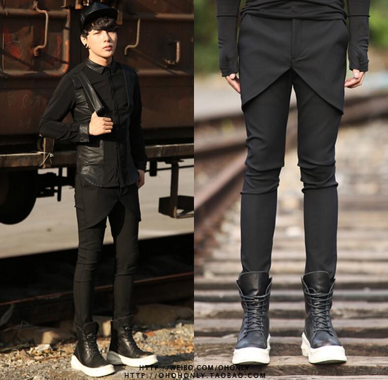 2016 Kurze Herrenbekleidung Schlanke Westlichen Stil Hosen Personalisierte Elastische Hose Rock Hosen Sänger Kostüme Kleidung