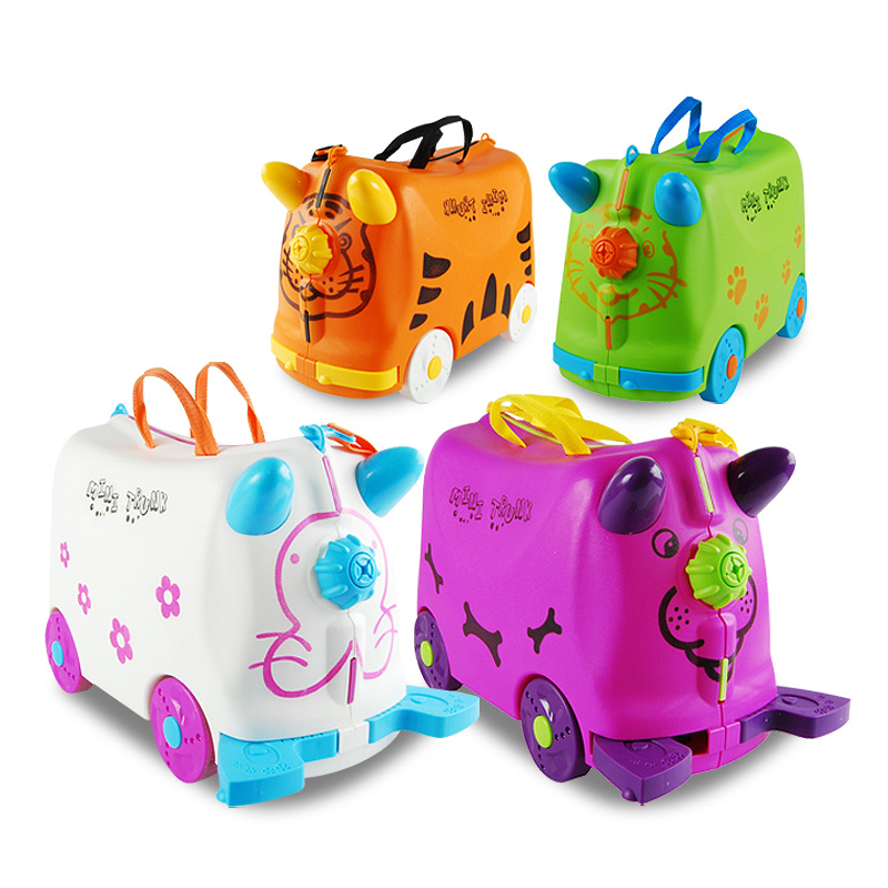 US $38 12 40% OFF|Lovely fashion travel luggage locker boy girl cars Toy  box suitcase Can sit to ride baby Check box kids holiday gift Bear 50KG-in
