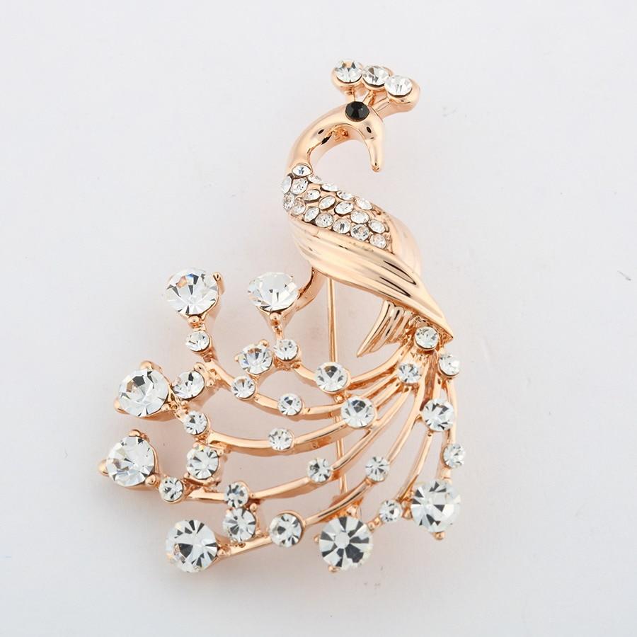 Cute Female Crystal Rhinestone Brooch Wedding peacock Fashion Jewelry Brand Animal Brooch Pins For Women Christmas Gift