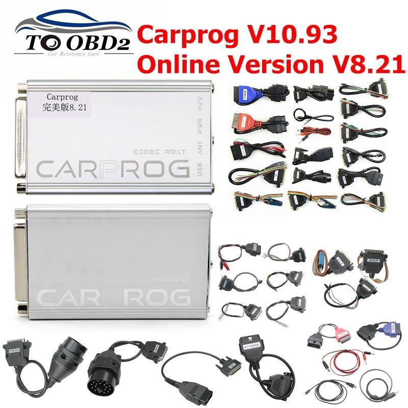 Newest Carprog V10.93 V8.21 Full 21 Adapters Car Prog 10.93 8.21 ECU Chip Tuning Online ECU Programmer Airbag Reset Tool