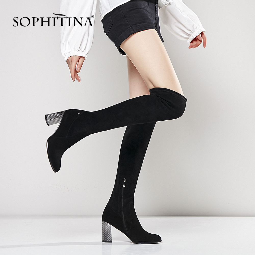SOPHITINA Over The Knee High Lady Boots Handmade Round Toe High Heel Woman Shoes Sexy Black