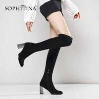 SOPHITINA роскошные сапоги выше колена женские сапоги ручной работы круглый носок женская обувь на высоком каблуке пикантные черные сапоги кач