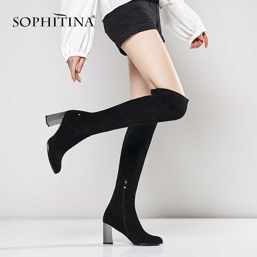 SOPHITINA เข่าสูงรองเท้าผู้หญิง Handmade รอบ Toe ส้นสูงรองเท้าผู้หญิงเซ็กซี่สีดำคุณภาพหนังนิ่ม Elegant boot B69