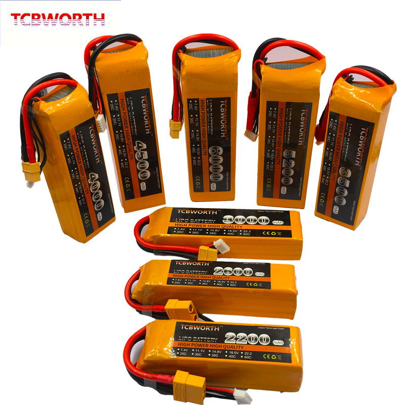 RC Lipo Battery <font><b>4S</b></font> 14.8V 900mAh 1200mAh 2800mAh 3800mAh 4500mAh <font><b>5000mAh</b></font> 25C 35C 60C For RC Airplane Drone Car <font><b>4S</b></font> RC Battery LiPo image