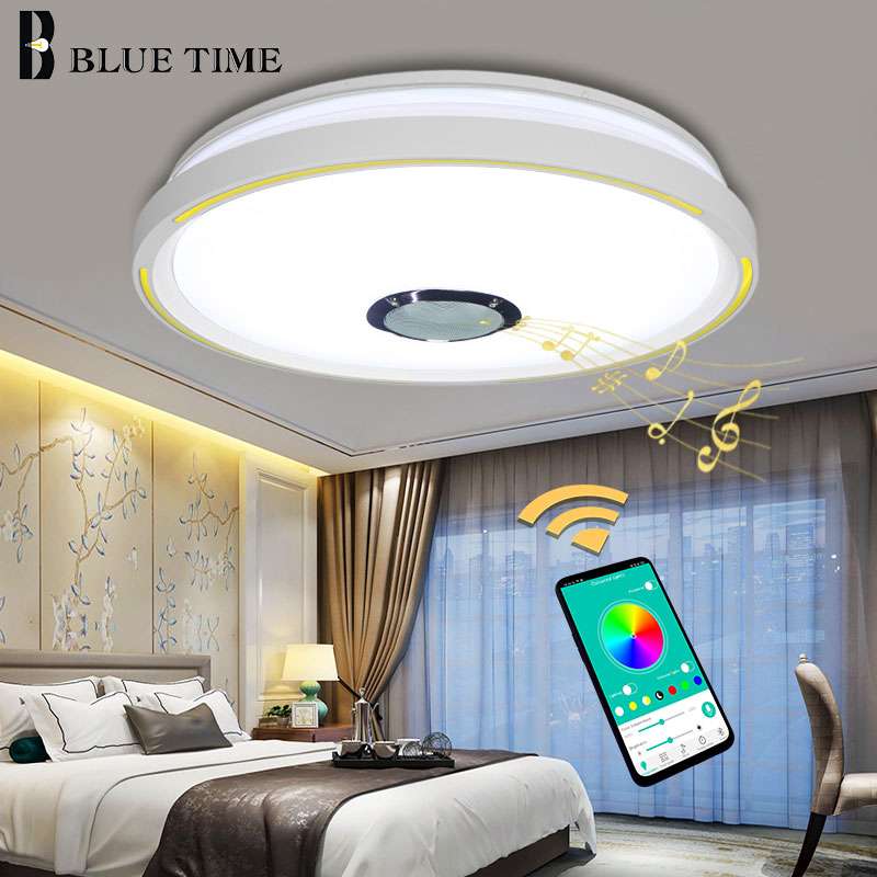 Modern Home Musical Fixtures LED Chandeliers For Bedroom Living Room Kitchen APP Controlling LED Chandeliers White