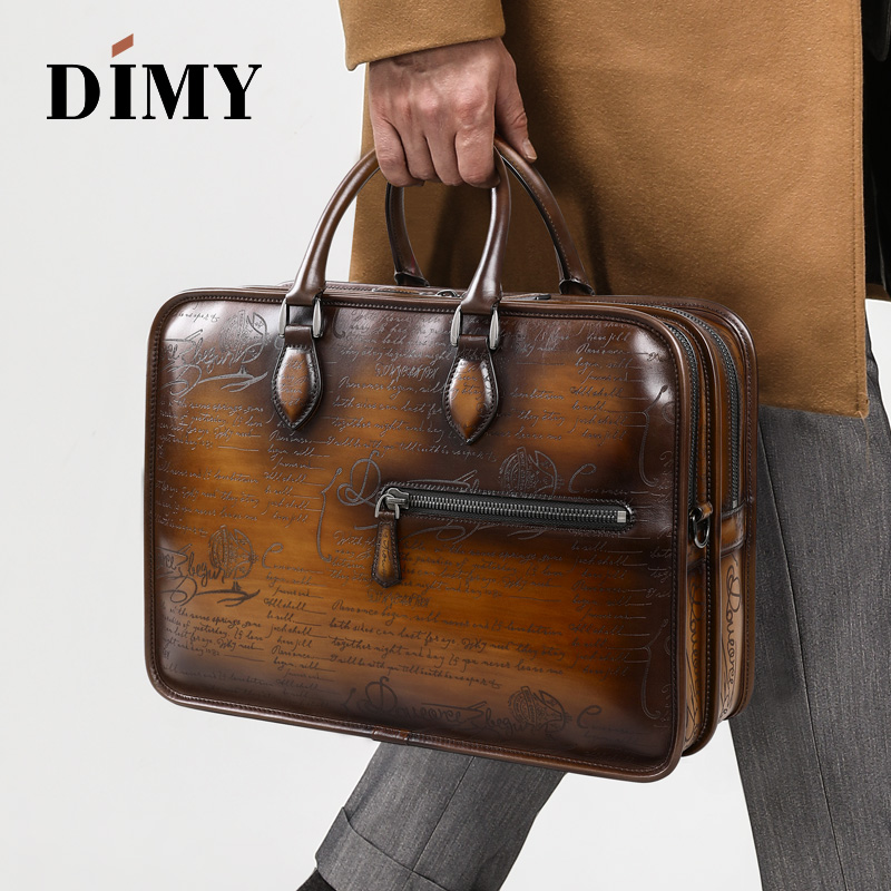 DIMY Hand Patina Leather Messenger Bag Dutch Calfskin Men's Briefcases Business Double Zipper Shoulder Bags For Gentleman D9161