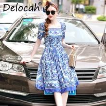 Delocah Fashion Designer Summer Dress Women Short Sleeve Elegant Vintage Casual Printed Party Slim 5XL Plus size