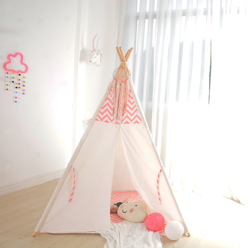Pink Chevron Kids Play Tipi Tent Childrens Teepee Indian Tent pink clouds teepee tent indoor childrens play tipi