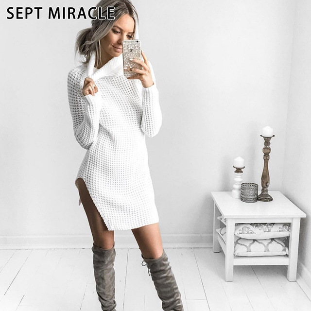 f9321054b618 SEPT MIRACLE Long Sweater Dress Women 2018 New Style Casual Sheath Knitted  Dresses Winter Warm Pullover Female Knit One-piece