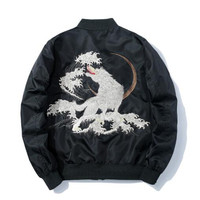 High quality classic white wolf embroidered Yokosuka jacket man plus cotton thickened MA 1 flight baseball
