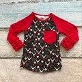 2017 new arrivals crianças Dia Dos Namorados do bebê meninas camisas Dos Namorados raglans rena bonito mangas de algodão babados impressão coração vermelho
