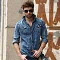 2015 Hombres Camisas De Mezclilla Camisa de Manga Larga Casual Moda Masculina Hombres Streetwear Jean Vaquero Roca estilo Camisa Vaquera Casual 2A290